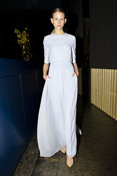 Lala Berlin | Floor-length, clean-cut gown decorated with hand-made Swarovski-crystals