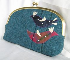 Harris Tweed Clutch Bag: Burdies design - Birds design via Etsy