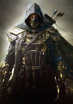 This is much of what Sithis looks like, except he uses a sword, not a bow. And he does not have the half-mask.