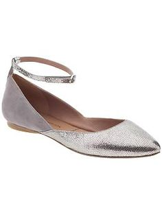 In my search for cute pointy silver flats--but these might be too girly and not 80s attitude enough: Sigerson Morrison Haidya Flat | Piperlime