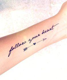 Tattoo for women small meaningful symbols scripts Ideas - tattoo, jewerly, other accessories - Tattoo Frauen Arrow Tattoos, Word Tattoos, Mini Tattoos, Trendy Tattoos, New Tattoos, Small Tattoos, Quote Tattoos, Arrow Heart Tattoo, Flower Tattoos