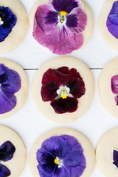 The Best Shortbread Cookie Recipe with Edible Flowers Shortbread Cookies with Pressed Edible Flowers Best Shortbread Cookie Recipe, Cookie Recipes, Just Desserts, Delicious Desserts, Vegan Wedding Cake, Dandelion Recipes, Flower Cookies, Cookie Bouquet, Flower Food