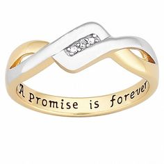 18k Gold over Sterling Silver 'A Promise is Forever' Diamond Ring (Size 10), Women's, White