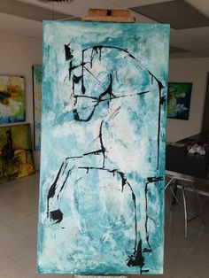 Horse Painting VERY Large 30 x 60 Original, Canvas, fine art, Painting, Abstract Click Visit link above to read Sad Paintings, Animal Paintings, Horse Paintings, Pastel Paintings, Abstract Horse Painting, Acrylic Painting Inspiration, Painting Corner, Equine Art, Horse Art