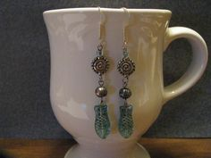 Czech Glass Fish and Gray Freshwater Pearl Dangle Earrings by ROOTSJewelryandGifts on Etsy