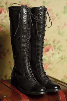 Simplistic perfection black lace-up boots