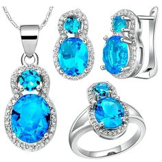 KnBoB Jewelry Sets Women Silver Plated Figure 8 Blue Crystal Ring Pendant Necklace Earrings Set *** Want additional info? Click on the image. (This is an affiliate link and I receive a commission for the sales)