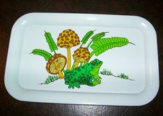 SALE 70s ADORABLE Frog & Mushroom Tin Tray by LizardQueenVintage, $5.00