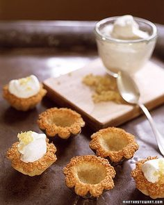 Coconut-Macaroon Tartlets recipe: macaroon crusts filled with vanilla-flavored whipped cream or use fresh fruit