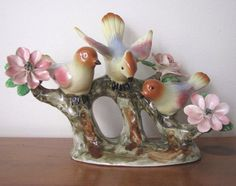 1950's Birds and Flowers Porcelain Figurine Statue