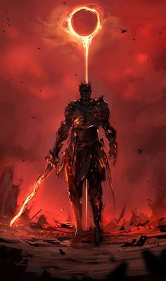 Dark Souls- Red and Black don't have to symbolize evil. Forget the fires of Hell. The grave is cold. It is the Heavenly Fire that breeds life. Fantasy Armor, Dark Fantasy Art, Dark Art, Fantasy Dragon, Fantasy Character Design, Character Art, Arte Dark Souls, Praise The Sun, Soul Art