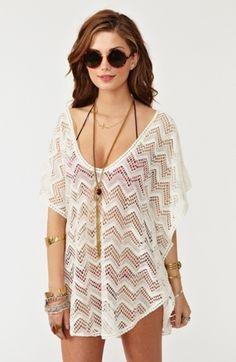 Zig Zag Crochet Top Cover up Zig Zag Crochet, Mode Crochet, Bikini Cover Up, Swimsuit Cover Ups, Parte Superior Del Bikini, Image Mode, Crochet Summer Tops, Crochet Tops, Summer Outfits