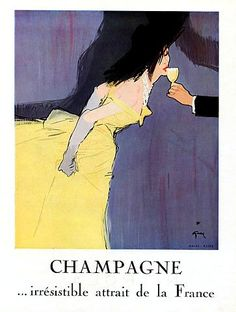 Champagne ad illustrated by Rene Gruau, 1950