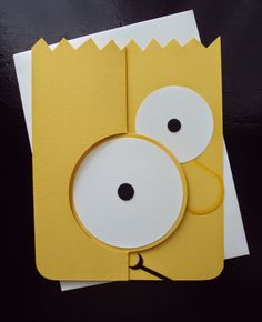 Paper Ecstasy: Bart's Belated Birthday Wish Cricut Birthday Cards, Birthday Cards For Boys, Cricut Cards, Flip Cards, Fancy Fold Cards, Stampin Up Karten, Stampin Up Cards, Simpsons Party, Minion Card