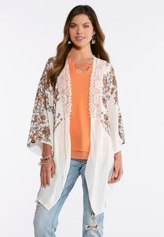 d9940f317e7 Cato Fashions Natural Floral Lace Kimono  CatoFashions Lace Kimono