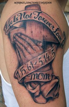 Grey Ink Cross And Memorial Banner Tattoo On Half Sleeve