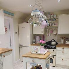 Pretty pastel accessories Smeg Fridge, Pastel Kitchen, Pastel Floral, Pretty Pastel, Clutter, Corner Desk, Kitchen Ideas, Kitchen Cabinets, Shelves