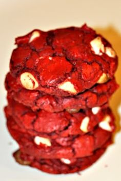 Red velvet, white chocolate chip cookies using cake mix