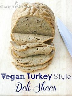 Cannot wait to try this recipe - Vegan Turkey style Seitan Deli Slices: Seitan Recipes, Vegetarian Recipes, Turkey Seitan Recipe, Gluten Free Seitan Recipe, Veggie Meat Recipes, Vegan Meat Recipe, Vegan Foods, Vegan Dishes, Beurre Vegan
