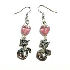 Only $6.99! - Rose Pink Czech Glass Heart Beads & Silver Siamese Cat Charm Earrings, Pink Glass Heart Earrings, Silver Kitty Charm Earrings, Dangling Cat Earrings, Sleek Kitty Earrings, Cats & Hearts, Jewelry Under $10, Affordable Jewelry Gifts, Unique Holiday Gifts, Huge End of the Year Sale - FREE USA SHIPPING https://www.etsy.com/listing/485520733/rose-pink-czech-glass-heart-beads-silver