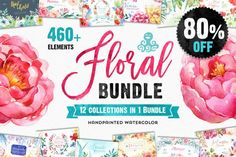 80% OFF! The Floral Bundle 12in1  by OctopusArtis on /creativemarket/