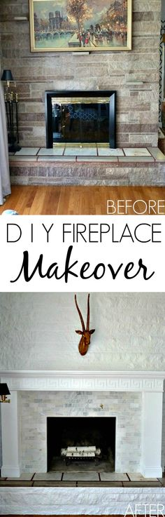 DIY Fireplace Makeover Before & After