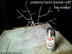 pottery barn knock-off silver twig reindeer | the apothecary bee.  click through for the tutorial!