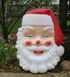 Vintage Christmas Blow Mold ~ Empire Plastic Large Santa Face just bought Old Christmas, Vintage Christmas Cards, Retro Christmas, Vintage Holiday, A Christmas Story, Christmas Pictures, Christmas Holidays, Outdoor Christmas Decorations, Halloween Decorations