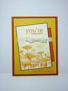 Upsy Daisy - To create this image, ink the stamp with the markers in pumpkin pie and daffodil delight and mist with a little water before pressing the image onto the very vanilla cardstock.