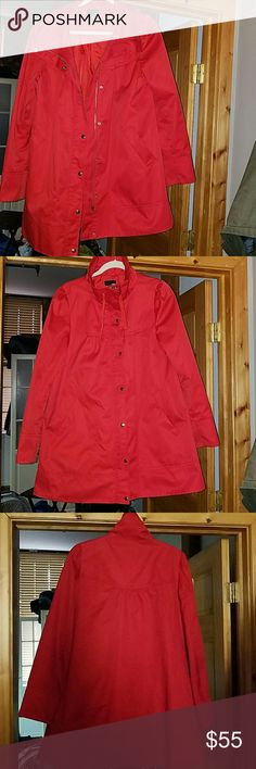 Perfect Jacket Cute and perfect jacket for you.  Great color and cute accents.  The color comes up high to protect you in the cold or can be folded down. Zipper nd snaps down the front with 2 pockets. The color is like an deep orange/tangerine H&M Jackets & Coats