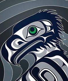 Haida Kunst, Arte Haida, Haida Art, Seahawks Fans, Seahawks Football, Football Baby, Nfl Seattle, Seattle Seahawks, Native Art