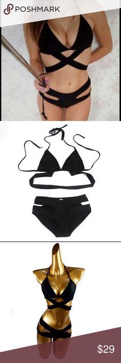 Black Bandage Bikini Sexy bandage 2 piece bikini. Full coverage bottom.   Spandex and poly blend.   Runs small.   Price is Firm. Swim Bikinis