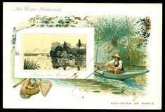 "Au Bon Marche Shops ""Environs de Paris"" (Around Paris) series of 6 issued in Lagny-sur-Marne Vintage Cards, Illustration Art, Illustrations, French, World, Painting, Shops, Jewelry, Figurine"