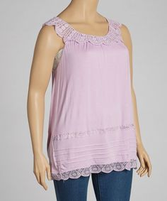 Loving this Lilac Lace Sleeveless Top - Plus on #zulily! #zulilyfinds