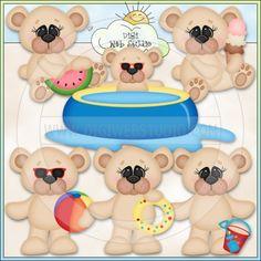 Summer Bears 2 - NE Kristi W. Designs Clip Art