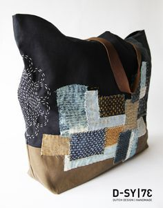The Beauty of Japanese Embroidery - Embroidery Patterns Sashiko Embroidery, Japanese Embroidery, Japanese Fabric, Patchwork Bags, Quilted Bag, Handmade Handbags, Handmade Bags, Boro Stitching, Art Bag