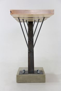 A custom table made of maple, steel, and concrete. Donated to Montana State University for the Celebration of Architecture Berkas, Zach George, Taylor Proctor. Steel Furniture, Custom Furniture, Cool Furniture, Modern Furniture, Industrial Table, Rustic Table, Industrial Furniture, Wood Steel, Wood And Metal