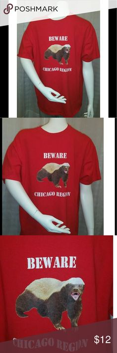 Men's Chicago region honey badger T-shirt XL Thank you for viewing my listing, for sale is a mens, short sleeve, red, honey badger, t-shirt.   This is from the Chicago region   Shirt is sz: XL   The shirt says beware Chicago region   From under one arm to under the other measures approximately 21 inches   From the top of the shoulder to the bottom of the shirt measures approximately ( front ) 28 inches   From the top of the shoulder to the bottom of the shirt measures approximately ( back )…