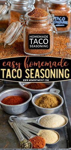 Homemade Spice Blends, Homemade Spices, Homemade Taco Seasoning, Seasoning Recipe, Spice Mixes, Taco Seasoning From Scratch, Chicken Taco Seasoning, All You Need Is, Paleo