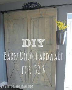 30 easy sliding barn door hardware diy doors kitchen design rustic furniture - April 20 2019 at Diy Sliding Barn Door, Double Barn Doors, Sliding Barn Door Hardware, Sliding Doors, Cheap Barn Door Hardware, Door Latches, Door Hinges, Diy Barn Door Plans, Rustic Hardware