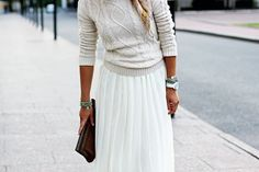 fitted sweater + long skirt