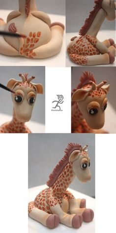 Giraffe Figurine Tutorial - by Ciccio; Fondant Toppers, Fondant Cakes, Cupcake Cakes, Fondant Figures, Cake Decorating Techniques, Cake Decorating Tutorials, Giraffe Cakes, Fondant Giraffe, Foundant