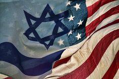 Israeli American Flags Print by Ken Smith