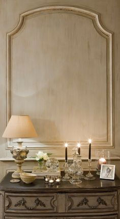 Oak hand-painted French paneling.