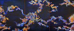 $4500 Ciel nocturne fantasmagorique, les signes du Zodiaque dansent dans mon imaginaire. TRIPTYQUE (3 pièces de 73 sur 91,5 cm)