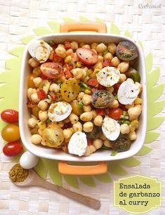 Cakemol: ENSALADA DE GARBANZOS CON VINAGRETA DE CURRY Curry, Chickpea Salad, Kung Pao Chicken, Beans, Vegetables, Cooking, Ethnic Recipes, Food, Garbanzo Salad