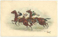 vintage postcards | 1909 M.M.VIENNE - M.MUNK VINTAGE POSTCARD HORSE RACE