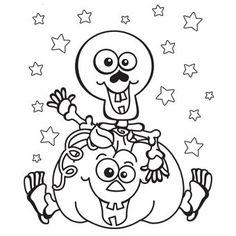 skeleton pumpkin coloring page