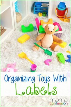 Great tips on organizing toys with labels from toddlers to teens, plus a free printable!   MomsConfession.com