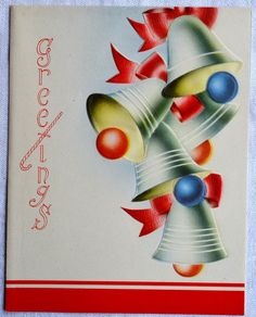 Vintage Christmas Card Bells and Ribbons by Pumpkintruckpaper